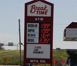 Mid Missouri Gas Price on 9-23-06