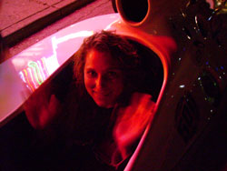 Laura McNamara in a street legal 2-seater IndyCar