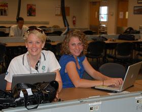 Marketing Coordinator Jenny Powell and ZimmComm New Media Reporter Laura McNamara