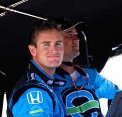 Team Ethanol Driver Ryan Hunter-Reay reads his IndyCar telemetry