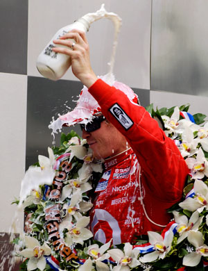 Scott Dixon celebrates his win in Victory Circle for the 92nd Indy 500