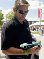 Mark Lackner with IndyCar replica